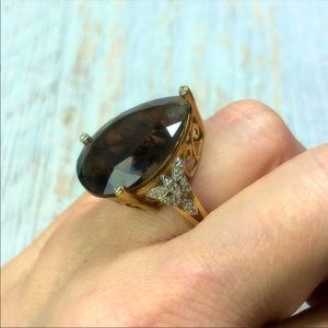 10k Gold HUGE Smokey Topaz Diamond Ring